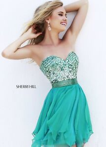 da8433056eb9 Image is loading Green-Short-Sherri-Hill-Prom-Pagent-Formal-Cocktail-