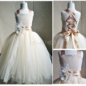 09e4be8c710 Das Bild wird geladen Blumenmaedchen-Kleid-Maedchen-Kinder-Hochzeit- Festkleider-Kommunionkleid-Gr-