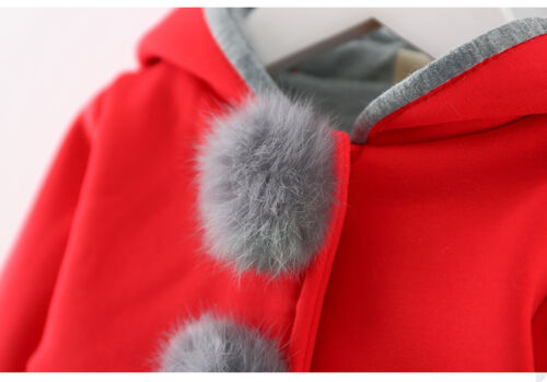 Baby Infant Girls Kids Winter Warm Thick Clothes Hooded Coat Jacket Tops Outwear
