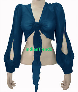 Dark-Teal-Belly-Dance-Tie-Top-Flair-Wrap-Choli-Gypsy-Haut-Blouse-Harem-Slit