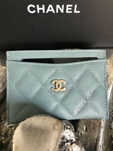 NWT CHANEL 18C Iridescent Light Blue Caviar Card Holder Case Wallet ... ab440b5bda1be