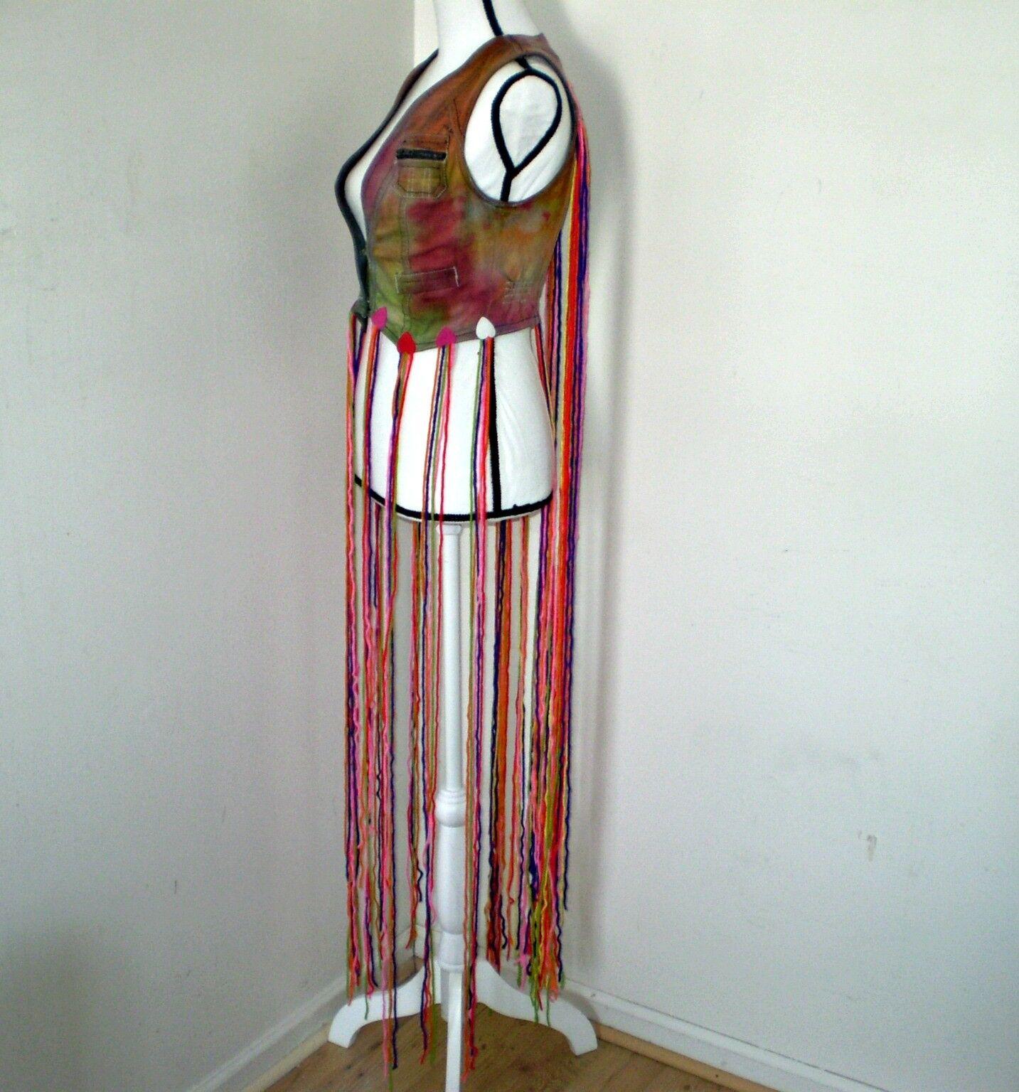Rainbow Fringe Vest    Tie Tie Tie Dye Vest    Festival Wear    Fringe Vest 3e6079
