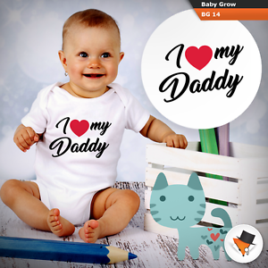 Baby Grows 0-3 3-6 Months I Love My Daddy Cute Baby Grows Bodysuit Vest Gift Dad
