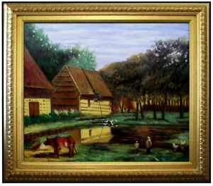 Framed-Monet-a-Farmyard-in-Normandy-Repro-Hand-Painted-Oil-Painting-20x24in