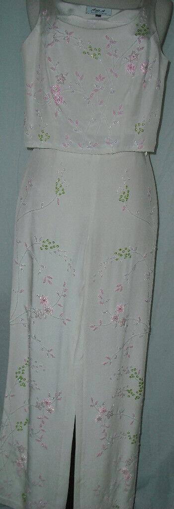 Aris A Dress 3Pc Evening Pant Suit Silk Beaded Sz  Med