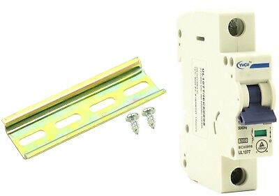 YC-20-2C with 6 Din Rail and 2 Screws Yuco Miniature Circuit Breaker C Curve 277//480VAC 115//220VDC 2 Pole, 20 Amp