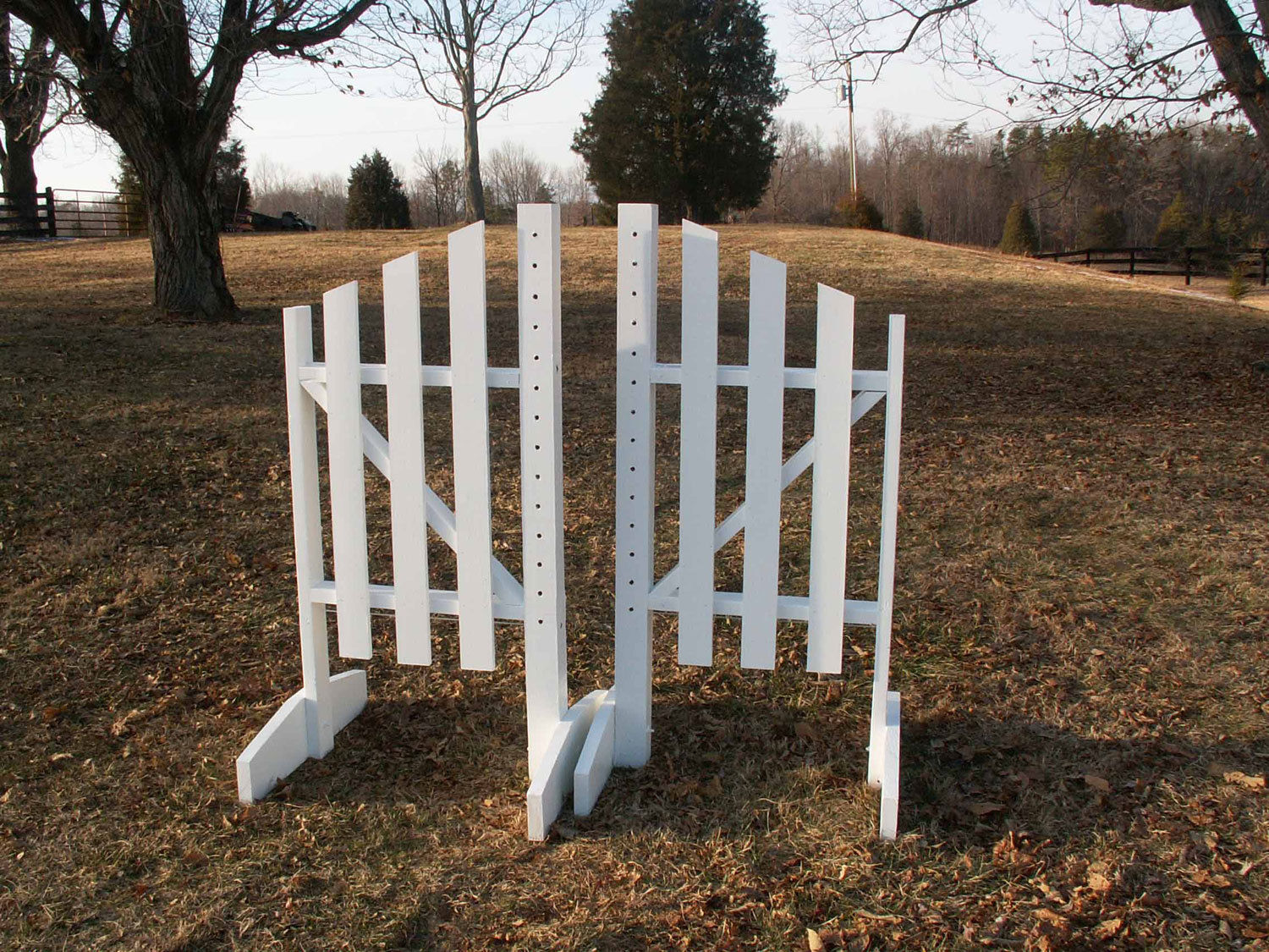 Horse Jumps 3 Panel  Slant Wooden Wing Standards 6ft Pair - White Natural  quality assurance