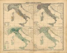 Carta geografica antica ITALIA GEOLOGIA BOTANICA POPOLI LINGUE 1897 Antique map