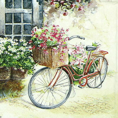 "4x Single Table Paper Napkins for Party, Decoupage, Craft ""Vintage Flower Bike"