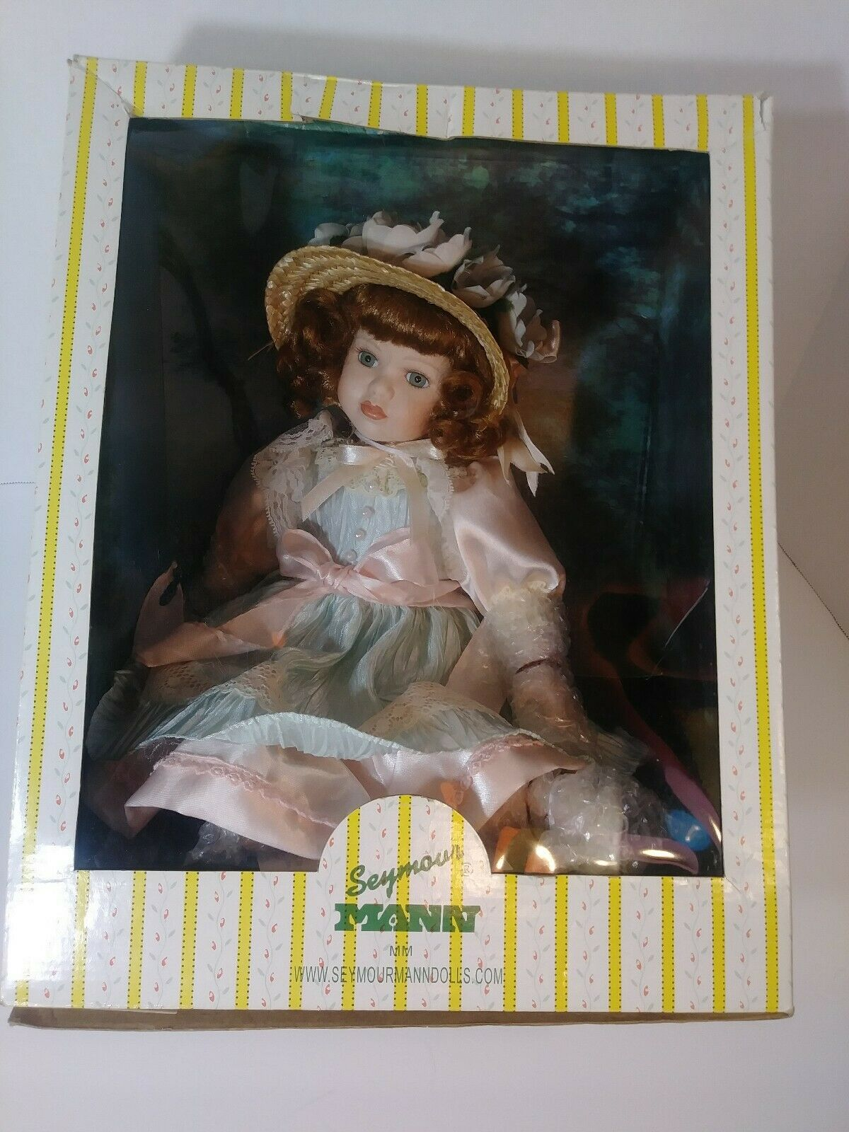 Seymour Mann Signature Series Doll SJ 912 M , New  Girl with bonnet Hand painted