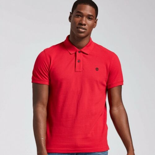 NWT Timberland Men/'s Solid Short Sleeve Pique Polo Shirt 8743J 7 Colors All Size