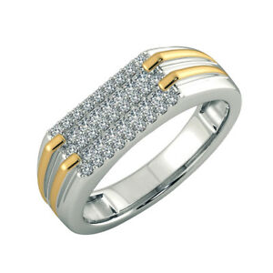 687982c893b8b Details about 0.41 Ct Round Cut Natural Diamond Wedding Band 14K Real White  Gold Men's Ring