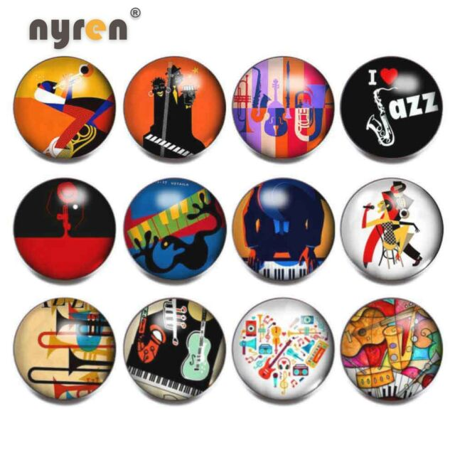 12pcs Music Jazz 18mm Snap Button Glass Snap Charms 20mm ...