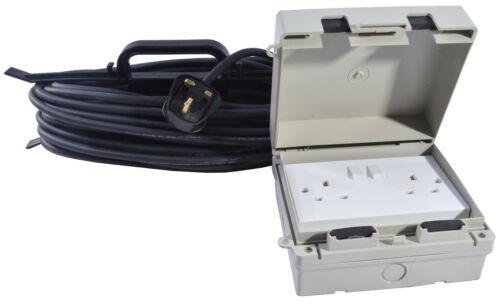 13 AMP Résistant aux intempéries Secteur Extérieur Extension Lead IP65 Noir 2 Socket 5 M to 25 m