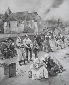 VILLAGE-ON-FIRE-Villagers-in-Dispair-Horror-1893-Photogravure-Print
