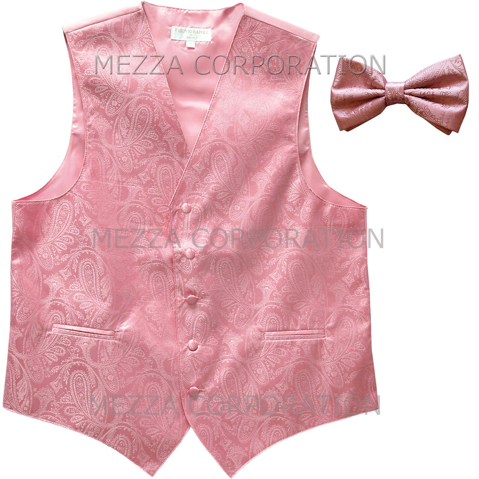 New Vesuvio Napoli Men's paisley formal Tuxedo Vest Waistcoat_Bowtie Pink