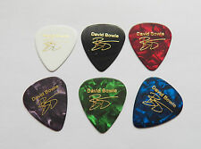 DAVID BOWIE signature stamped in Gold plectrum guitar picks set of 6x