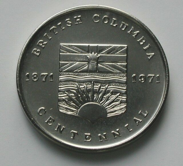 British Columbia CANADA 1871-1971 Centennial Medal with Coat of Arms & Industry