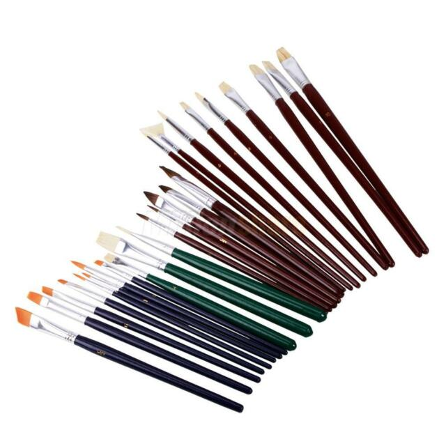 25PCS Artist Acrylic Watercolour Oil Painting paint Bristle Hair Wood Brush Set