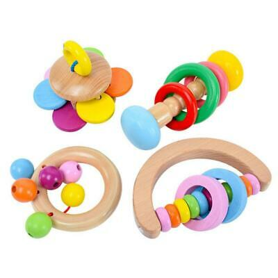Baby Wooden Rattle Bell Toy Handbell Musical Education Percussion Instrument/&/&