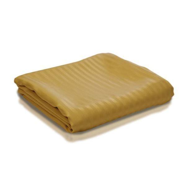 Duvet Set + Fitted Sheet Super King Size gold Stripe 1000 TC Egyptian Cotton