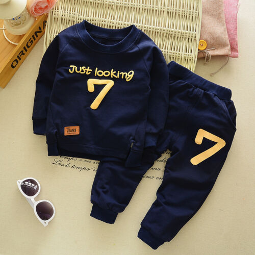 2Pcs Baby Boys Casual Cotton T-shirt Long Pants Toddler Clothes Set Outfits
