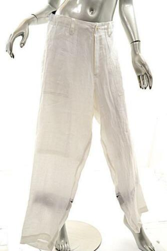 Y/'s YOHJI YAMAMOTO White 100/% Linen Pant w//Rear Lace Insert $945 Sz 2 NWT