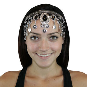 Silver-Headband-Purple-Red-Pink-Gems-Belly-dance-Headdresses-Costume-Metal-Wave