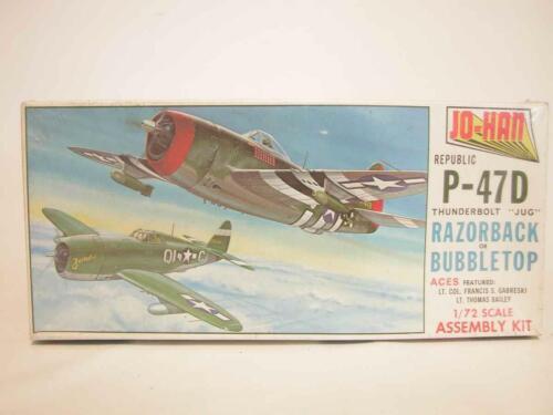 1:72 Jo-Han Thunderbolt Jug Republic P-47D Razorback Bubbletop Model Kit SEALED