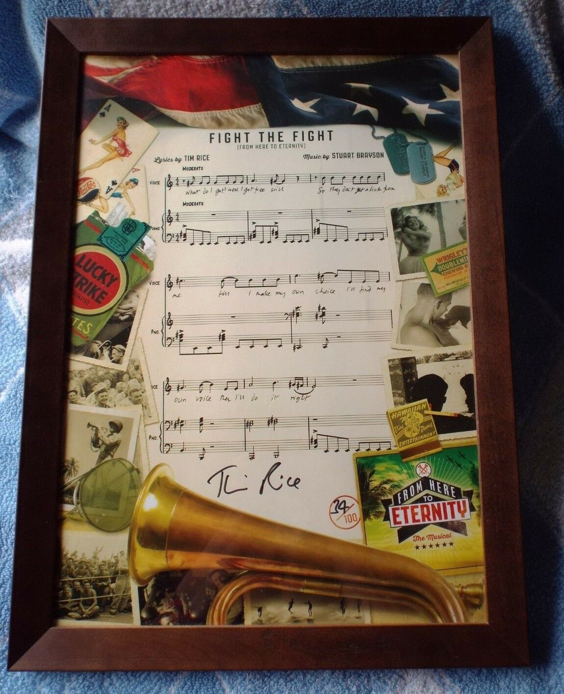 Lyrical Sheet SIGNED bySir Tim Rice From Here to Eternity Theatre Framed Picture