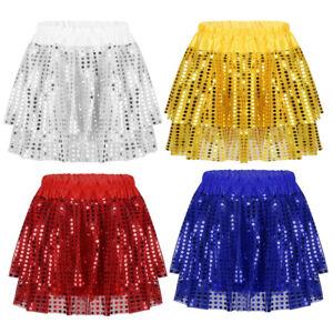 VernLan Big Girls Sequined Lyrical Latin Jazz Ballet Dance Dress Mock-Neck Leotard Tulle Skirt Stage Performance Costumes