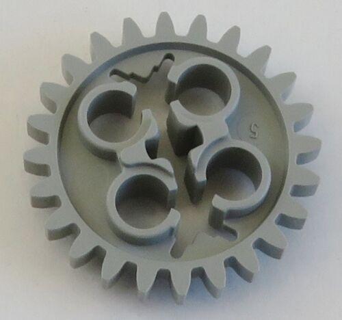 2 Stück LEGO Technic Zahnrad 24 Zähne mit 3 Achs Löchern hellgrau # x187