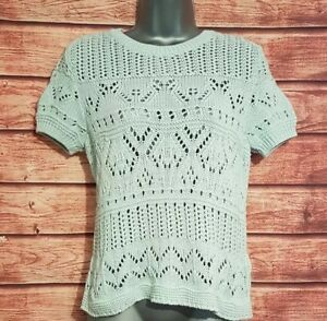 M-amp-S-COLLECTION-Size-14-Top-MINT-GREEN-Crotchet-Knit-Short-Sleeved-VGC-Women-039-s
