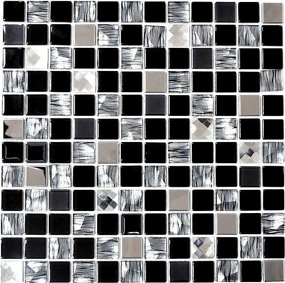 Glasmosaik/Edelstahl mix schwarz/Glas Fliesenspiegel Art: 63-CM-426 | 10 Matten