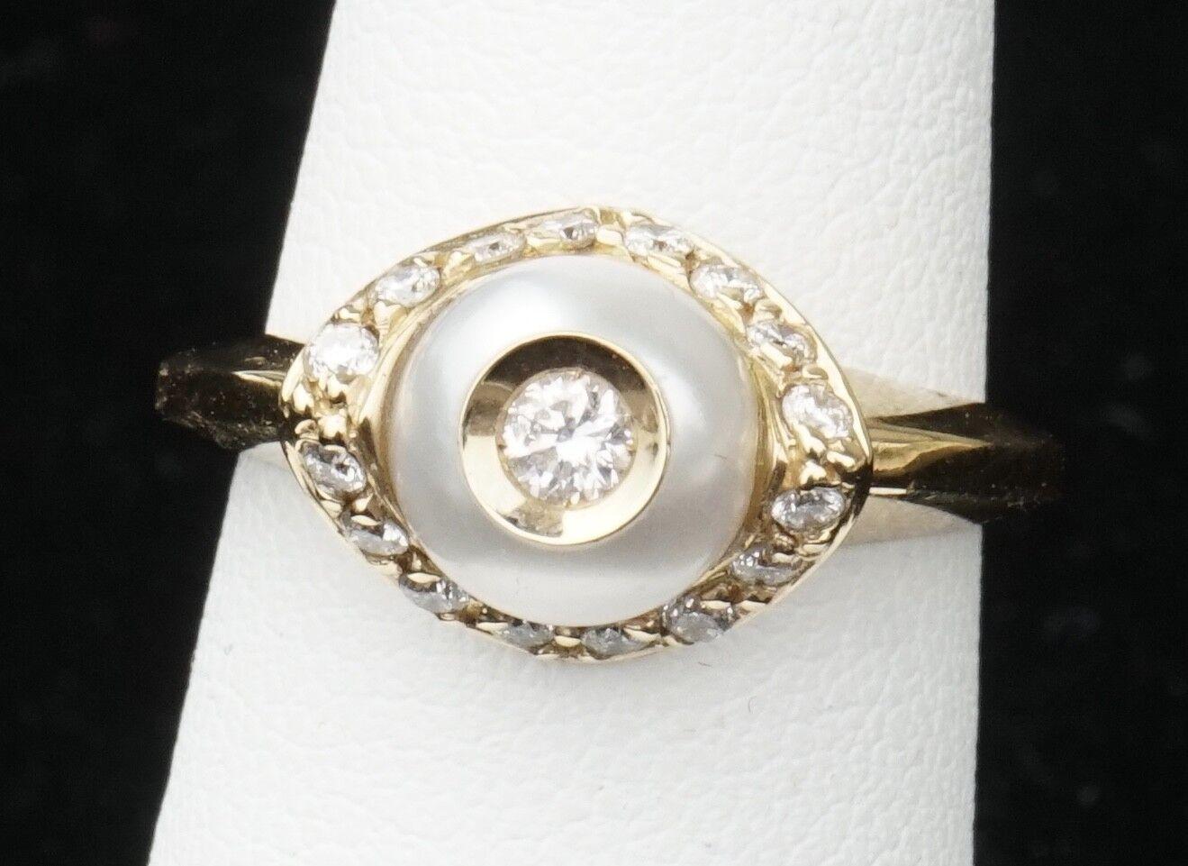 364bc40637ab6 Galatea Yellow 14K Diamond gold 6 Size Ring Pearl A in zgye492153831 ...