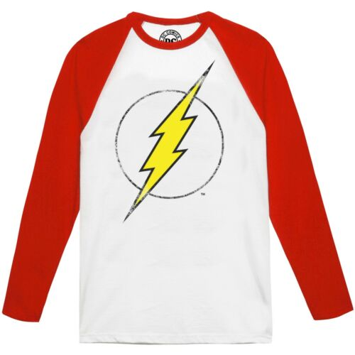 Flash Distress DC Comics Mens Long Sleeve Raglan White /& Red