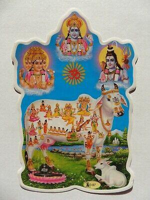 12.1cm x 9.1cm Double Sided Window Hindu Sticker KRISHNA D-1837