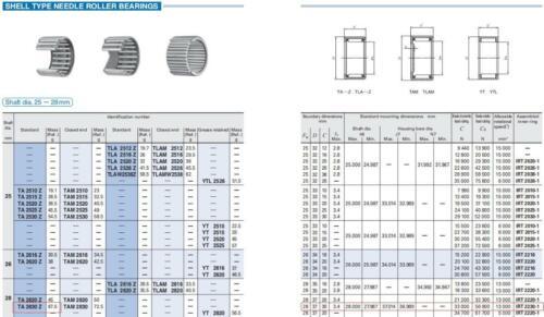 IKO TA2428Z Needle Roller Bearings 31x24x28mm