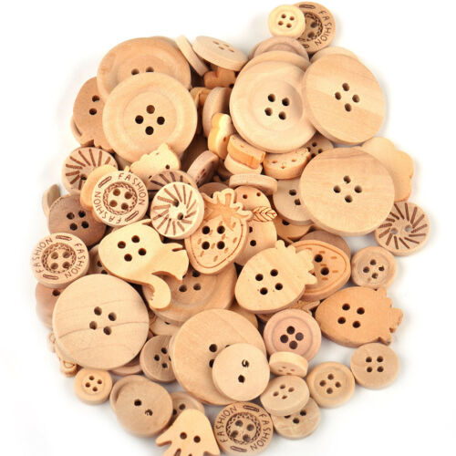 100pcs Mixed Shape Wooden Buttons Embellishment for DIY Sewing Craft Scrapbook