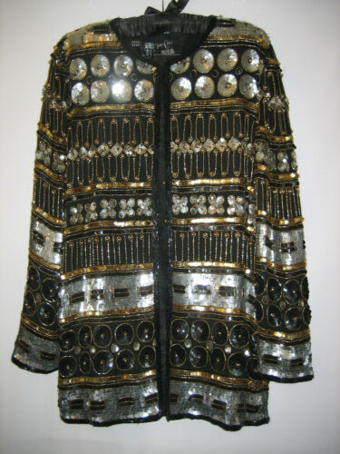 vtg 90s GOLD AND SILVER ENCRUSTED Beaded Sequin TA