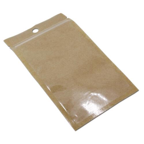 Clear Brown Flat Ziplock Pouch Plastic Kraft Paper Food Packaging Bags Hang Hole