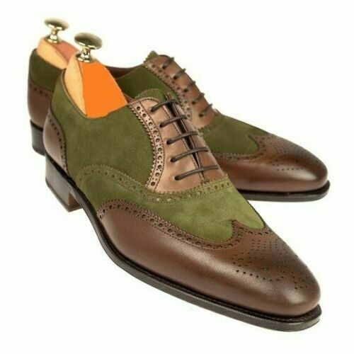 Mens Handmade Shoes Two Tone Suede Leather Wing Tip Brogue Formal Wear Boots New