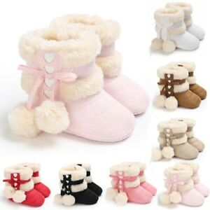 Toddler Kid Baby Girls Cute Toddler First Walk Winter Bow Knot Sweet Heart Shoes