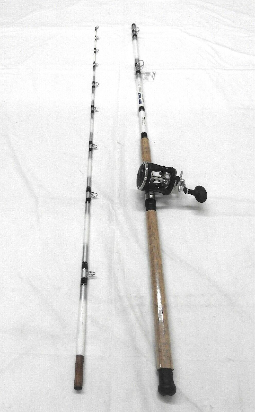 10' 2PC Pro Nite Stick Catfish Casting Combo Cork Handle Glow Tip   3BB Reel