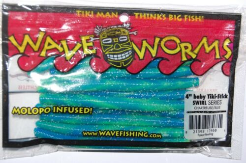 "wave worm baby tiki stick 4/"" senko swirl series chartreuse blue bass lure"