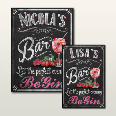 163 GREY PERSONALISED GIN O/'CLOCK FAMILY NAME SIGN CHALKBOARD GIN HANGING SIGN