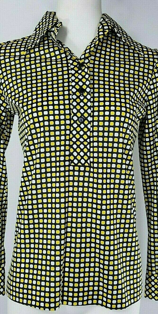 Vintage Black /& White Abstract Design Psychedelic Knit Stretchy Collared Polo ls Top size Small