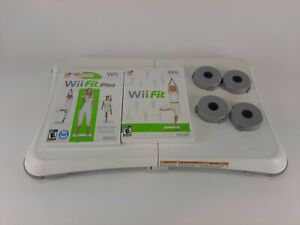 Wii Fit & Wii Fit Plus w/ Balance Board Nintendo Wii Games Lot Bundle