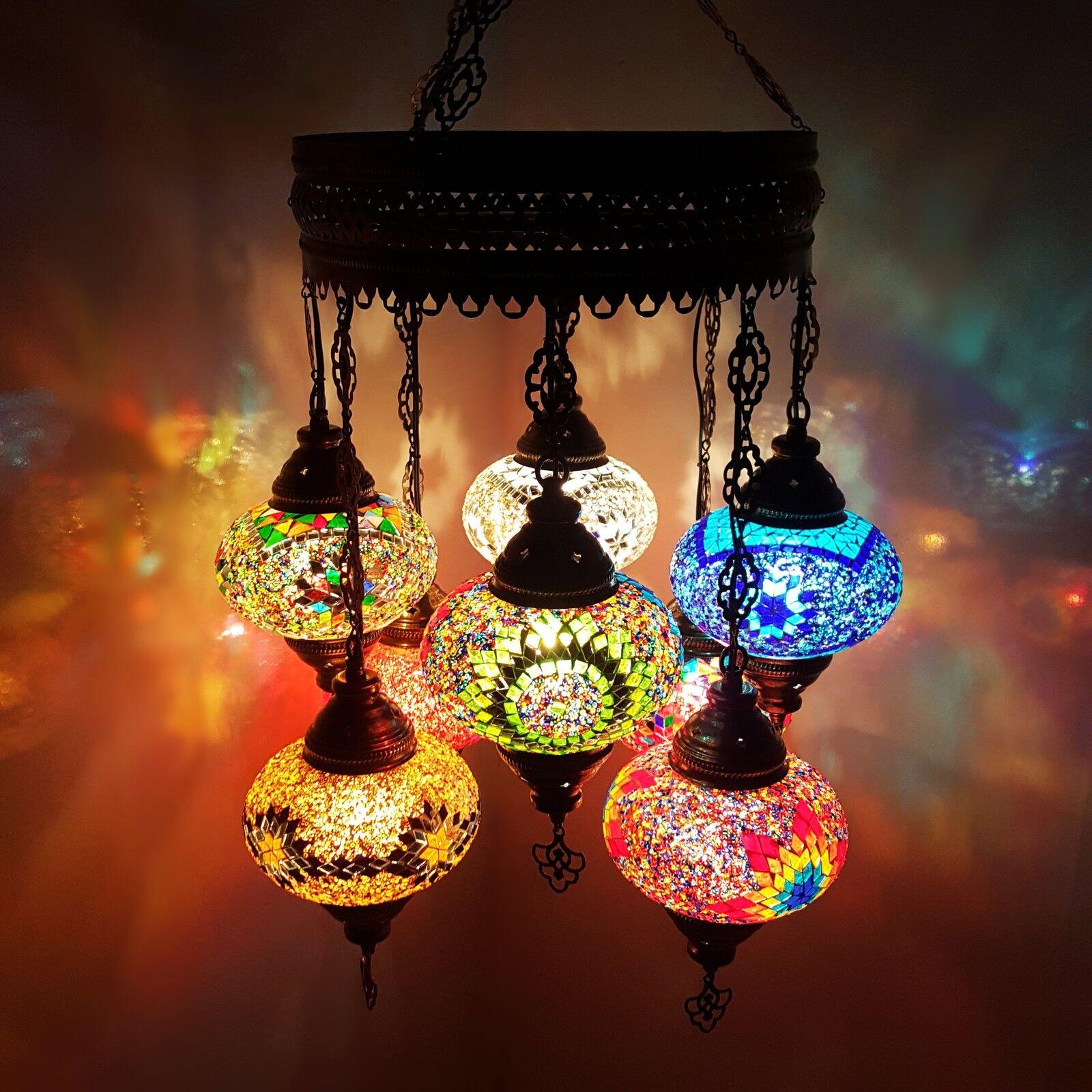 Turkish Moroccan LARGE Glass Mosaic Chandelier Lamp Light