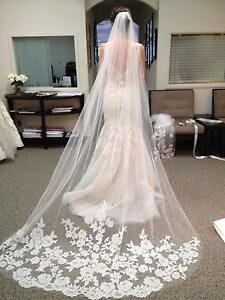 White-Ivory-3-M-Length-1-Layer-Lace-Applique-Wedding-Long-Bridal-Veil-with-Comb